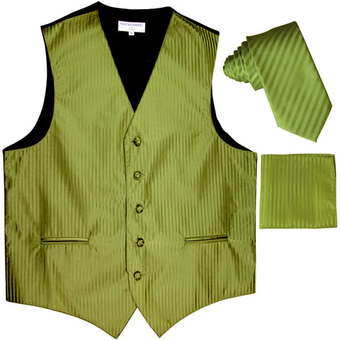 "New Men's Formal Vest Tuxedo Waistcoat_2.5"" vertical stripes slim necktie set wedding spinach green"