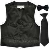 New Boy's Kid's formal Tuxedo Vest Waistcoat Necktie Bowtie US size 2-14 wedding