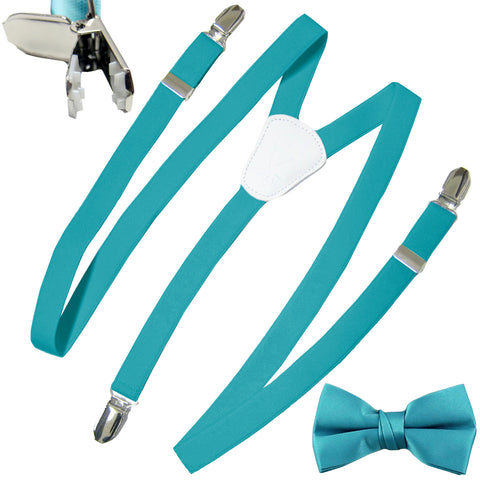 New Kid's Boy's Suspender Braces adjustable strap clip on & bowtie