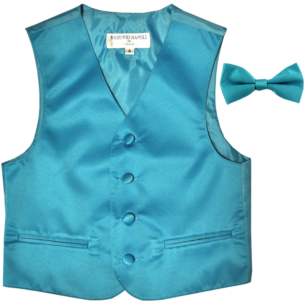 New Boy's Kid's formal Tuxedo Vest Waistcoat & bowtie US size 2-14 wedding