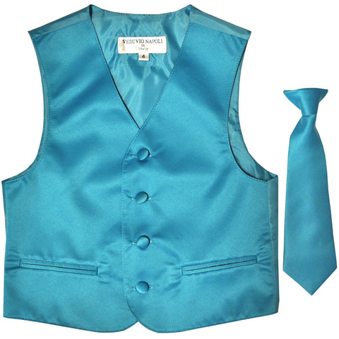 New Boy's Kid's formal Tuxedo Vest Waistcoat & Necktie US size 2-14