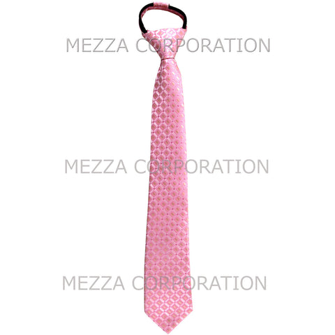 New Boy's Zipper Adjustable Pre-Tied Necktie Checkered