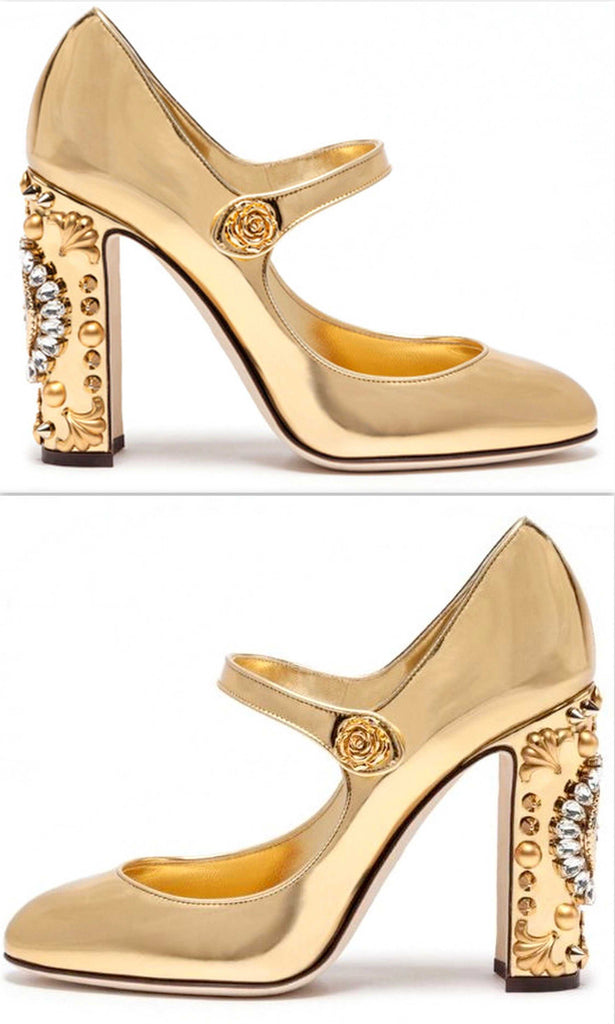 f6ccaa84a02 Gold Embellished Clock-Heel Mary Jane Pumps – DESIGNER INSPIRED FASHIONS