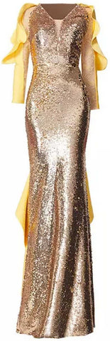 Gold Sequined Ruffled Gown
