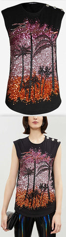 Embellished Palm Trees Cotton-Jersey Top