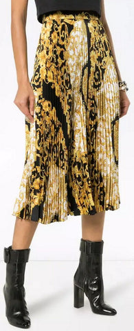 Baroque-Print Pleat Skirt