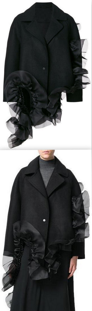 Asymmetric Ruffle Coat