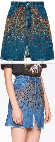 Crystal Denim Skirt