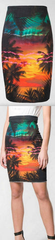 Sunset and Palm Tree Printed Denim Skirt