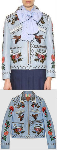 Blue Embroidered Studded Leather Jacket