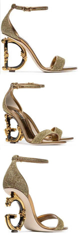 Metallic Glitter Sandals with Letter Heels | DESIGNER INSPIRED FASHIONS