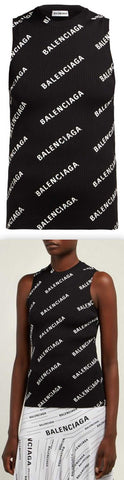 Logo-Print Ribbed-Knit Sleeveless Top, Black | DESIGNER INSPIRED FASHIONS