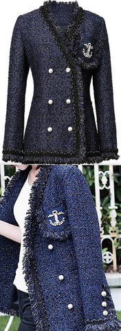 Anchor-Embellished Tweed Jacket