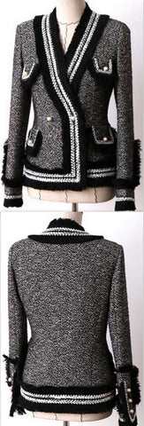 Black & White Fringed Tweed Jacket