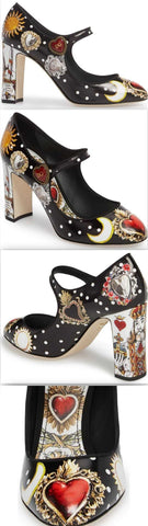 Button Card Print Mary Jane Pumps | DESIGNER INSPIRED FASHIONS