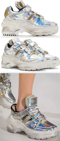Deconstructed Silver Chunky Sneakers