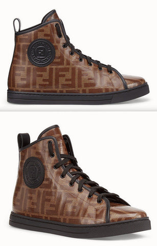 FF Logo Fabric High-Top Sneakers