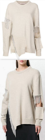 Crystal Cut Out Knit Jumper