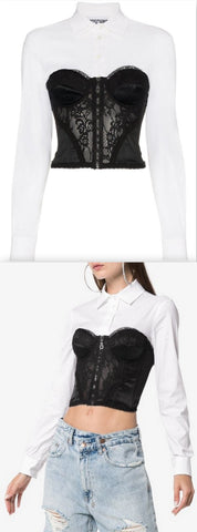Long Sleeve Shirt with Lace Corset