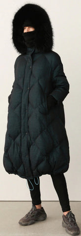 Fur-Hooded Down Coat