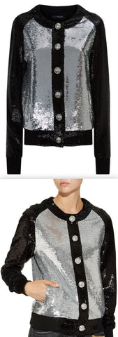 Bicolour Sequin Bomber Jacket