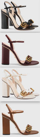 Leather Double G Sandals - Black, Burgundy, White, Brown | DESIGNER INSPIRED FASHIONS