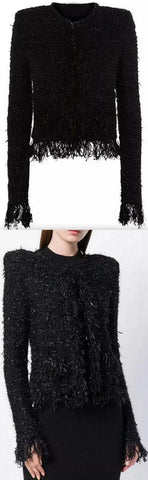 Black Fringed Tweed Jacket