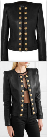 Button-Embellished Collarless Leather Blazer | DESIGNER INSPIRED FASHIONS