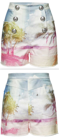 Printed Denim Shorts with Embossed Buttons