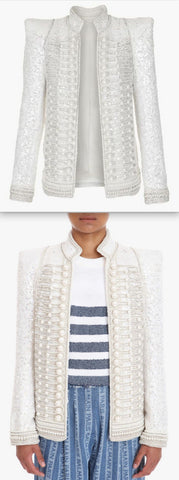 Embellished Military Jacket - White *Only a few left*