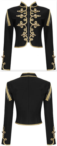 Embroidered Stretch Crop Military Jacket