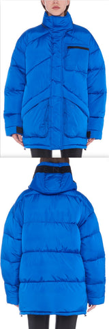 Embroidered Puffer Down Coat, Blue