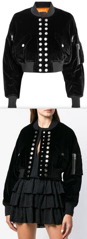 Black Velvet Multi Snap Crop Bomber Jacket
