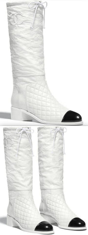 White and Black Leather High Boots