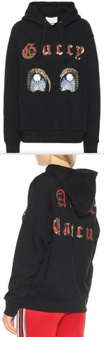 Black Sequined Cotton Hoodie