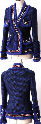Blue Fringed Tweed Jacket