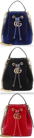 GG Marmont Velvet Bucket Bag - Blue, Black, Red