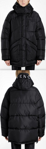 Embroidered Puffer Down Coat, Black