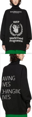 Black World Food Programme Turtleneck Sweater - Black or Navy Blue