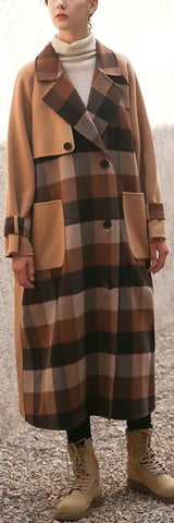 Camel Plaid Paneled Wool Coat