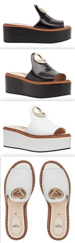 Logo Leather Wedge Sandals - Black or White