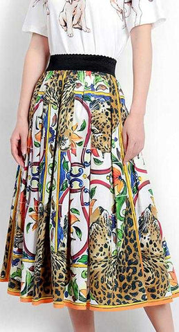 'Majolica' and Cheetah Print Midi Skirt
