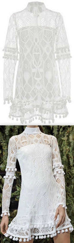 'Callisto' Lace Dress, White