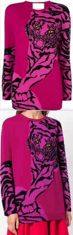 Tiger Intarsia Sweater, Deep Rose