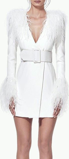 Belted Feather-Trim Blazer-Dress - White or Black