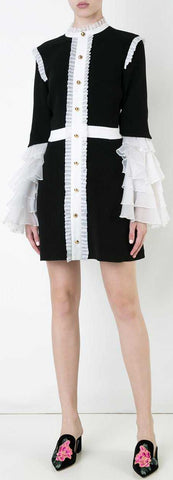 'Sincerity' Black & White Ruffle Dress | DESIGNER INSPIRED FASHIONS