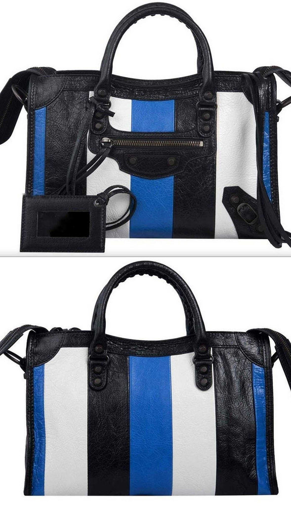 Classic City S Bag -  White & Blue Stripes