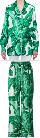 Banana Leaf Printed Pajama Top & Pant Set with Dragonfly Embellishment - DESIGNER INSPIRED FASHIONS