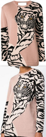 Tiger Intarsia Sweater, Pale Pink