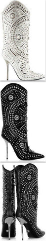 'Chelsea' Studded Embellished Stiletto Boots in Black or White | DESIGNER INSPIRED FASHIONS
